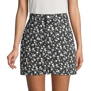 *LIKE NEW* Cotton Floral-Print Denim Skirt